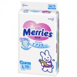 Подгузники MERRIES L MEGAPACK, 9-14 кг, (54+4 шт.)